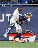 Zachary Brault-Guillard (15),Diego Fagundez (14) during New England Revolution and Montreal Impact MLS match at Gillette Stadium in Foxboro, MA on Wednesday, April 24, 2019. Montreal beat Revs 3-0. CREDIT/ CHRIS ADUAMA