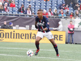 Juan Agudelo (17) during New England Revolution and Minnesota United FC MLS match at Gillette Stadium in Foxboro, MA on Saturday, March 25, 2017. Revs won 5-2. CREDIT/ CHRIS ADUAMA