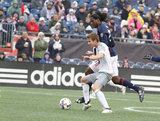 Femi Hollinger-Janzen (88) and Collin Martin (17) during New England Revolution and Minnesota FC MLS match at Gillette Stadium in Foxboro, MA on Saturday, March 25, 2017. Revs won 5-2. CREDIT/ CHRIS ADUAMA