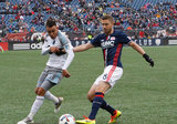 Miguel Ibarra (10) and Chris Tierney (8) during New England Revolution and Minnesota United FC MLS match at Gillette Stadium in Foxboro, MA on Saturday, March 25, 2017. Revs won 5-2. CREDIT/ CHRIS ADUAMA