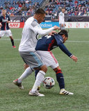 Lee Nguyen (24) and Miguel Ibarra (10) during New England Revolution and Minnesota United FC MLS match at Gillette Stadium in Foxboro, MA on Saturday, March 25, 2017. Revs won 5-2. CREDIT/ CHRIS ADUAMA