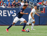 Juan Agudelo (17) during New England Revolution and Minnesota United FC MLS match at Gillette Stadium in Foxboro, MA on Saturday, March 30, 2019. Revs won 2-1. CREDIT/ CHRIS ADUAMA