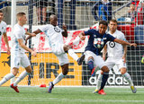 Ike Opara (3), Juan Agudelo (17) during New England Revolution and Minnesota United FC MLS match at Gillette Stadium in Foxboro, MA on Saturday, March 30, 2019. Revs won 2-1. CREDIT/ CHRIS ADUAMA