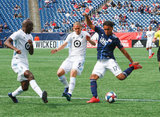 Ike Opara (3),Osvaldo Alonso (6), Juan Agudelo (17) during New England Revolution and Minnesota United FC MLS match at Gillette Stadium in Foxboro, MA on Saturday, March 30, 2019. Revs won 2-1. CREDIT/ CHRIS ADUAMA