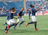 Jalil Anibaba (3) celebrates goal with team mates during New England Revolution and Minnesota United FC MLS match at Gillette Stadium in Foxboro, MA on Saturday, March 30, 2019. Revs won 2-1. CREDIT/ CHRIS ADUAMA