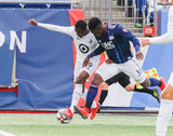 Jalil Anibaba (3), Abu Danladi (99) during New England Revolution and Minnesota United FC MLS match at Gillette Stadium in Foxboro, MA on Saturday, March 30, 2019. Revs won 2-1. CREDIT/ CHRIS ADUAMA