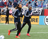 Revs warm up before Revolution and NYCFC MLS match at Gillette Stadium in Foxboro, MA on Saturday, March 24, 2018. The match ended 2-2. CREDIT/ CHRIS ADUAMA