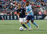 Scott Caldwell (6), Ismael Tajouri (29) during Revolution and NYCFC MLS match at Gillette Stadium in Foxboro, MA on Saturday, March 24, 2018. The match ended 2-2. CREDIT/ CHRIS ADUAMA