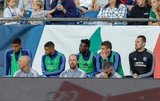 Ebenezer Ofori (12) on bench during New England Revolution and New York City Football Club MLS match at Gillette Stadium in Foxboro, MA on Sunday, September 29, 2019. Revs won 2-0. CREDIT/CHRIS ADUAMA.