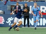 Gustavo Bou (7) during New England Revolution and New York City Football Club MLS match at Gillette Stadium in Foxboro, MA on Sunday, September 29, 2019. Revs won 2-0. CREDIT/CHRIS ADUAMA.