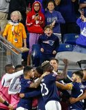 Teal Bunbury (10) goal celebration during New England Revolution and New York City Football Club MLS match at Gillette Stadium in Foxboro, MA on Sunday, September 29, 2019. Revs won 2-0. CREDIT/CHRIS ADUAMA.