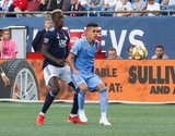 Wilfried Zahibo (23), Jesus Medina (19) during New England Revolution and New York City Football Club MLS match at Gillette Stadium in Foxboro, MA on Sunday, September 29, 2019. Revs won 2-0. CREDIT/CHRIS ADUAMA.