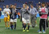 Revs players celebrating end of season after New England Revolution and New York City Football Club MLS match at Gillette Stadium in Foxboro, MA on Sunday, September 29, 2019. Revs won 2-0. CREDIT/CHRIS ADUAMA.