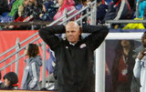 Coach Brad Friedel, during N.E. Revolution and New York Red Bulls MLS match at Gillette Stadium in Foxboro, MA on Saturday, April 20, 2019. Revs won 1-0. CREDIT/ CHRIS ADUAMA