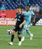 Marc Rzatkowski (90), Luis Caicedo (27) during N.E. Revolution and New York Red Bulls MLS match at Gillette Stadium in Foxboro, MA on Saturday, April 20, 2019. Revs won 1-0. CREDIT/ CHRIS ADUAMA