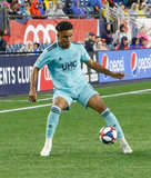 Juan Agudelo (17) during N.E. Revolution and New York Red Bulls MLS match at Gillette Stadium in Foxboro, MA on Saturday, April 20, 2019. Revs won 1-0. CREDIT/ CHRIS ADUAMA