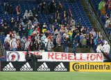 Revs Fans during N.E. Revolution and New York Red Bulls MLS match at Gillette Stadium in Foxboro, MA on Saturday, April 20, 2019. Revs won 1-0. CREDIT/ CHRIS ADUAMA