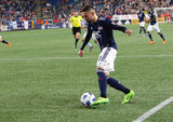 during New England Revolution and Sporting Kansas City MLS match at Gillette Stadium in Foxboro, MA on Saturday, April 28, 2018. Revs won 1-0. CREDIT/ CHRIS ADUAMA