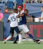 Jamiro Monteiro (35), Cristian Penilla (70) during New England Revolution and Philadelphia Union MLS match at Gillette Stadium in Foxboro, MA on Wednesday, June 26, 2019. The match ended in 1-1 tie. CREDIT/CHRIS ADUAMA
