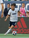 Alejandro Bedoya (11) during New England Revolution and Philadelphia Union MLS match at Gillette Stadium in Foxboro, MA on Wednesday, June 26, 2019. The match ended in 1-1 tie. CREDIT/CHRIS ADUAMA