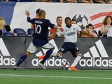 Teal Bunbury (10),Raymond Gaddis (28) during New England Revolution and Philadelphia Union MLS match at Gillette Stadium in Foxboro, MA on Wednesday, June 26, 2019. The match ended in 1-1 tie. CREDIT/CHRIS ADUAMA