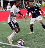 Jamiro Monteiro (35), Brandon Bye (15) during New England Revolution and Philadelphia Union MLS match at Gillette Stadium in Foxboro, MA on Wednesday, June 26, 2019. The match ended in 1-1 tie. CREDIT/CHRIS ADUAMA