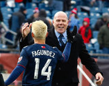 Diego Fagundez (14) and Revs Head Coach Brad Friedel during New England Revolution's 2018 MLS Home Opener with Colorado Rapids at Gillette Stadium in Foxboro, MA on Saturday, March 10, 2018.Revs won 2-1.CREDIT/ CHRIS ADUAMA