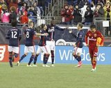 Revs Celebrate Goal during Revolution and Real Salt Lake MLS match at Gillette Stadium in Foxboro, MA on Saturday, May 13, 2017. Revs won 4-0. CREDIT/ CHRIS ADUAMA.