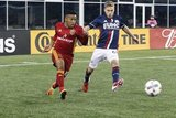 Joao Plata (10) and Scott Caldwell (6) during Revolution and Real Salt Lake MLS match at Gillette Stadium in Foxboro, MA on Saturday, May 13, 2017. Revs won 4-0. CREDIT/ CHRIS ADUAMA.