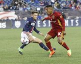Kelyn Rowe (11) and Joao Plata (10) during Revolution and Real Salt Lake MLS match at Gillette Stadium in Foxboro, MA on Saturday, May 13, 2017. Revs won 4-0. CREDIT/ CHRIS ADUAMA.