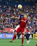Juan Fernando Caicedo (9), Justin Portillo (43) during New England Revolution and Real Salt Lake MLS match at Gillette Stadium in Foxboro, MA on Saturday, September 21, 2019. The match ended 0-0 tie. CREDIT/CHRIS ADUAMA.