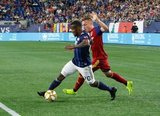 Cristian Penilla (70), Corey Baird (17) during New England Revolution and Real Salt Lake MLS match at Gillette Stadium in Foxboro, MA on Saturday, September 21, 2019. The match ended 0-0 tie. CREDIT/CHRIS ADUAMA.
