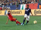 Sebastian Saucedo (23), DeJuan Jones (24) during New England Revolution and Real Salt Lake MLS match at Gillette Stadium in Foxboro, MA on Saturday, September 21, 2019. The match ended 0-0 tie. CREDIT/CHRIS ADUAMA.