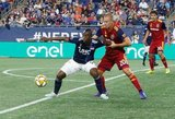 Erik  Holt (20), Juan Fernando Caicedo (9) during New England Revolution and Real Salt Lake MLS match at Gillette Stadium in Foxboro, MA on Saturday, September 21, 2019. The match ended 0-0 tie. CREDIT/CHRIS ADUAMA.