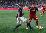 Brandon Bye (15), Corey Baird (17) during New England Revolution and Real Salt Lake MLS match at Gillette Stadium in Foxboro, MA on Saturday, September 21, 2019. The match ended 0-0 tie. CREDIT/CHRIS ADUAMA.