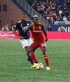 Andrew Farrell (2), Sam Johnson (50) during New England Revolution and Real Salt Lake MLS match at Gillette Stadium in Foxboro, MA on Saturday, September 21, 2019. The match ended 0-0 tie. CREDIT/CHRIS ADUAMA.