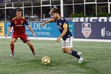 Brooks Lennon (12), Carles Gil (22) during New England Revolution and Real Salt Lake MLS match at Gillette Stadium in Foxboro, MA on Saturday, September 21, 2019. The match ended 0-0 tie. CREDIT/CHRIS ADUAMA.