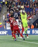 Wilfried Zahibo (23), Andrew Putna (51)-GK during New England Revolution and Real Salt Lake MLS match at Gillette Stadium in Foxboro, MA on Saturday, September 21, 2019. The match ended 0-0 tie. CREDIT/CHRIS ADUAMA.