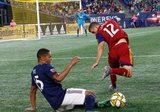 Brandon Bye (15), Brooks Lennon (12) during New England Revolution and Real Salt Lake MLS match at Gillette Stadium in Foxboro, MA on Saturday, September 21, 2019. The match ended 0-0 tie. CREDIT/CHRIS ADUAMA.