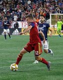 Brooks Lennon (12) during New England Revolution and Real Salt Lake MLS match at Gillette Stadium in Foxboro, MA on Saturday, September 21, 2019. The match ended 0-0 tie. CREDIT/CHRIS ADUAMA.