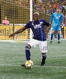 Luis Caicedo (27), Brooks Lennon (12) during New England Revolution and Real Salt Lake MLS match at Gillette Stadium in Foxboro, MA on Saturday, September 21, 2019. The match ended 0-0 tie. CREDIT/CHRIS ADUAMA.