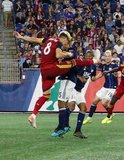 Damir Kreilach (8), Brandon Bye (15), Andrew Farrell (2) during New England Revolution and Real Salt Lake MLS match at Gillette Stadium in Foxboro, MA on Saturday, September 21, 2019. The match ended 0-0 tie. CREDIT/CHRIS ADUAMA.