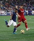 DeJuan Jones (24), Damir Kreilach (8) during New England Revolution and Real Salt Lake MLS match at Gillette Stadium in Foxboro, MA on Saturday, September 21, 2019. The match ended 0-0 tie. CREDIT/CHRIS ADUAMA.