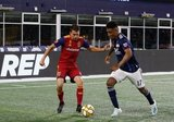Juan Agudelo (17), Tate Schmitt (21) during New England Revolution and Real Salt Lake MLS match at Gillette Stadium in Foxboro, MA on Saturday, September 21, 2019. The match ended 0-0 tie. CREDIT/CHRIS ADUAMA.