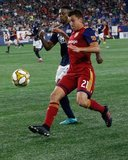 Tate Schmitt (21), DeJuan Jones (24) during New England Revolution and Real Salt Lake MLS match at Gillette Stadium in Foxboro, MA on Saturday, September 21, 2019. The match ended 0-0 tie. CREDIT/CHRIS ADUAMA.