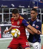 Tate Schmitt (21), Brandon Bye (15) during New England Revolution and Real Salt Lake MLS match at Gillette Stadium in Foxboro, MA on Saturday, September 21, 2019. The match ended 0-0 tie. CREDIT/CHRIS ADUAMA.