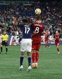 Juan Agudelo (17), Damir Kreilach (8) during New England Revolution and Real Salt Lake MLS match at Gillette Stadium in Foxboro, MA on Saturday, September 21, 2019. The match ended 0-0 tie. CREDIT/CHRIS ADUAMA.