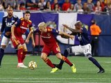 Kelyn Rowe (6), Luis Caicedo (27) during New England Revolution and Real Salt Lake MLS match at Gillette Stadium in Foxboro, MA on Saturday, September 21, 2019. The match ended 0-0 tie. CREDIT/CHRIS ADUAMA.