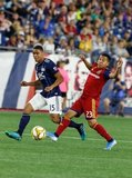 Brandon Bye (15), Sebastian Saucedo (23) during New England Revolution and Real Salt Lake MLS match at Gillette Stadium in Foxboro, MA on Saturday, September 21, 2019. The match ended 0-0 tie. CREDIT/CHRIS ADUAMA.