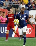 Juan Fernando Caicedo (9) during New England Revolution and Real Salt Lake MLS match at Gillette Stadium in Foxboro, MA on Saturday, September 21, 2019. The match ended 0-0 tie. CREDIT/CHRIS ADUAMA.